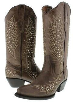 Womens Brown Western Cowgirl Boots Silver Studded Embroidere