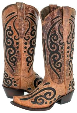 Womens Cognac Leather Western Cowboy Boots Black Butterfly I