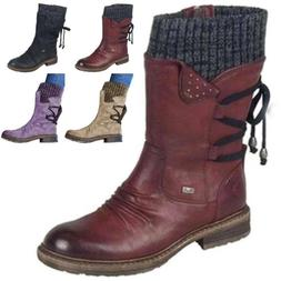 Womens Cowboy Mid Calf Boots Ladies Winter Snow Knit Flat Lo