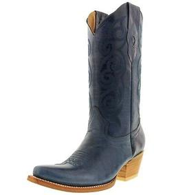 Womens Denim Blue Plain Leather Cowgirl Boots Casual Western