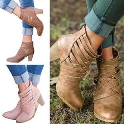 Women Casual Ankle Boots High Block Heel Cowboy Western Styl