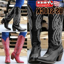 Womens Ladies Cowgirl Cowboy Boots Ladies Block Heel Mid Wid