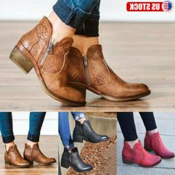 Womens Low Block Heel Western Zipper Ankle Boots Ladies Boot