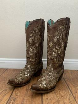 Women's Corral Boots Orix Glitter Inlay With Studs Handcra