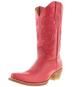 Womens Pink Plain Leather Cowgirl Boots Casual Western Wear