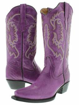 Womens Purple Casual Classic Western Style Cowboy Boots Plai