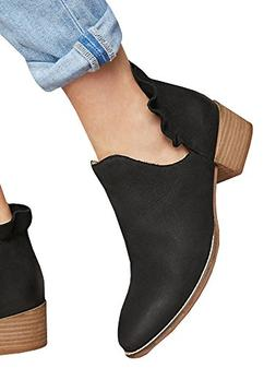 Bbalizko Womens Ruffled Ankle Boots Cut Out Slip On Pointed