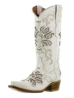 Womens Western Wedding Cowgirl Boots Distressed Leather Whit