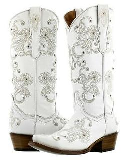 Womens White Wedding Western Cowgirl Boots I Do Embroidered