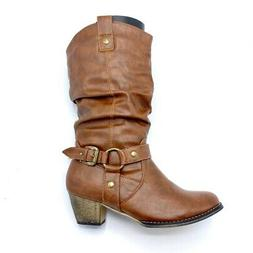 Refresh Womens Wild Western Cowboy Boots Brown Mid Calf Cuba