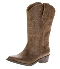 Wonder Nation Youth Girl's Pull-on Brown Western Cowboy Boot